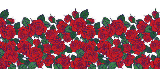 Vector red roses and leaves with purple outlines with white background horizontal border pattern. Great for greeting cards and romantic posters.