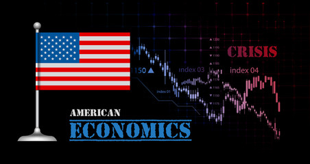 American economy illustration with USA flag and business graph, stock market bar graph bull market, downtrend graph symbolizes crisis