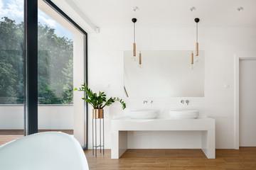 Elegant white bathroom interior