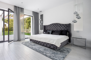 Glamour gray bedroom interior