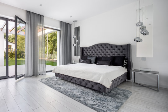 Glamour gray bedroom interior