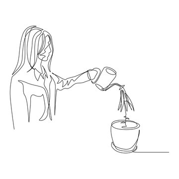 Continuous one line woman is watering a plant in a pot. The concept of nurturing, investing and capital. Vector stock illustration.