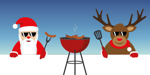 cute santa claus and reindeer with sunglasses at christmas bbq vector illustration EPS10
