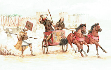 Babylonian king on the chariot. Ancient battlefield illustration. Historical drawing.