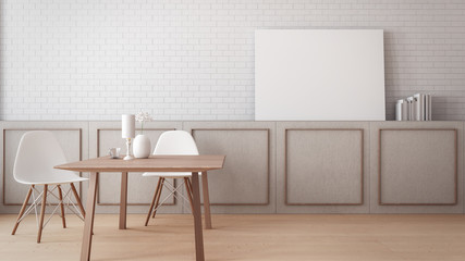 Timeless dining room wall poster mock-up / 3D rendering interior