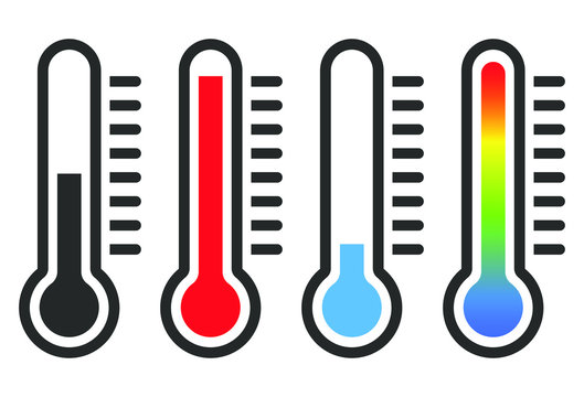 Cartoon flat style Heat thermometer icon shape. Hot Temperature meter logo symbol. Fever temp healthcare sign. Vector illustration image. Isolated on white background. Climate change.
