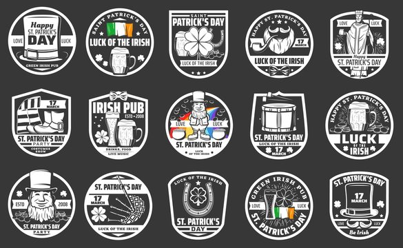 Saint Patrick day holiday party icons