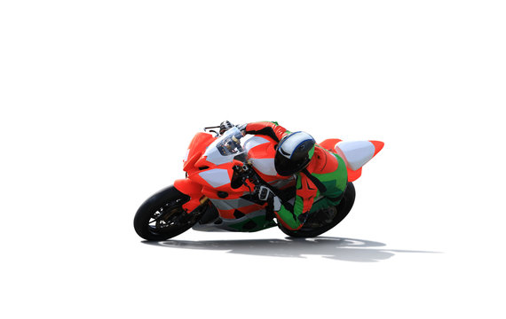 Racing bike rider leaning into a fast corner  on a white background