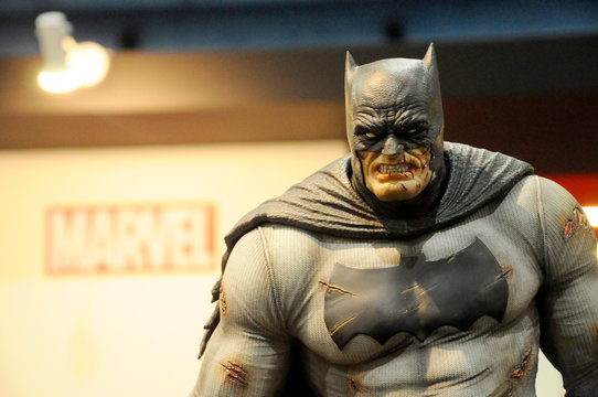 KUALA LUMPUR, MALAYSIA -OCTOBER 6, 2018: Fiction character of Batman from DC movies and comic. Batman action figure toys in various size display for the public.