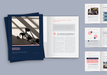 Blue and Pink Annual Report Layout
