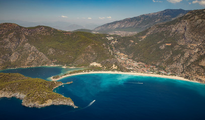 Aerial panorama of beach in Oludeniz, Turkey