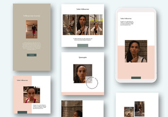 Social Media Post Layouts with Green and Pink Accents