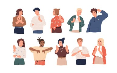 Negative gestures flat vector illustrations set. Finger language, non verbal communication. People disagree and rejection signs isolated pack on white background. Sign language, emotions expression.