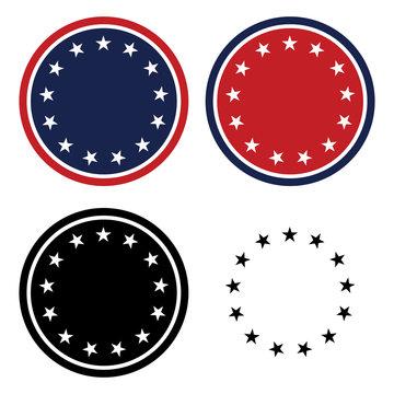 Patriotic 13 Stars Circle Set Isolated Vector Illustration