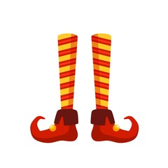 Christmas elf legs flat vector illustration. Little santa helper, funny medieval jester costume part. Colorful striped stockings and shoes with bells isolated on white background. Festive outfit item.