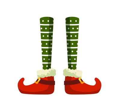 Christmas elf feet flat vector illustration. Little santa helper, funny medieval clown costume part. Green stockings and shoes with buckles isolated on white background. Festive outfit item.
