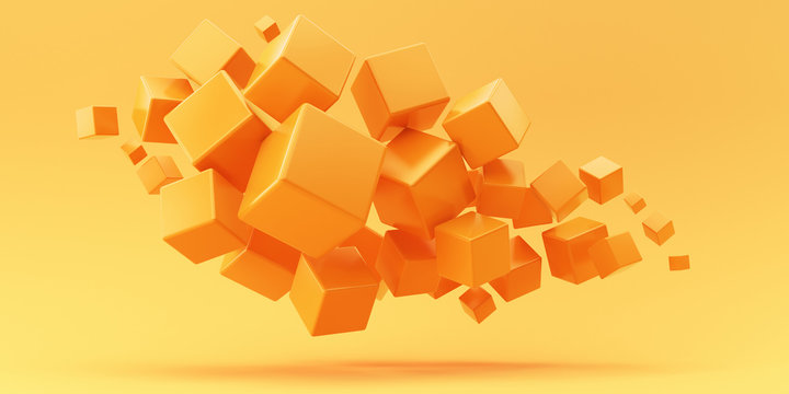 Flying orange cubes on a yellow background. 3d render illustration.
