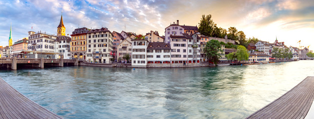Zurich. Scenic panoramic view of the city promenade and at dawn.