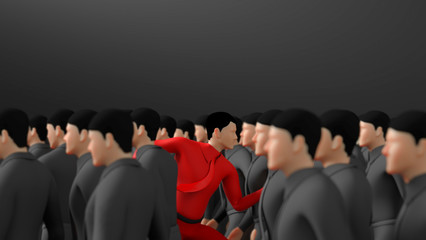 one man standing out from the crowd running in different way on black Background. concept for challenge,  business, Organization, boss, way, choice and direction. with copy space. 3d rendering Wall mural