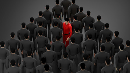 one human standing out from the crowd. The red man Walking through the crowd in different way. concept for challenge,  business, Organization, boss, way, choice and direction. copy space. 3d rendering Wall mural