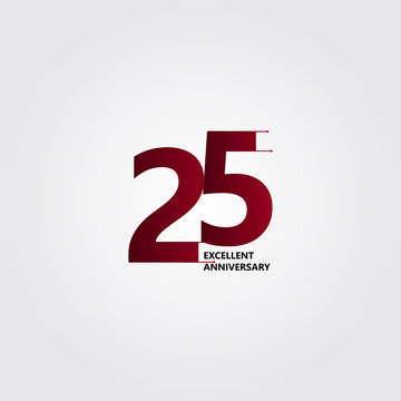 25 Years Excellent Anniversary Vector Template Design Illustration