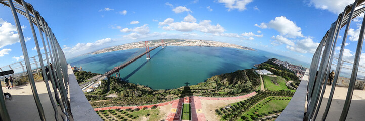 Panoramic aerial view over Shadow of Christ statue in Lisbon Almada - travel photography