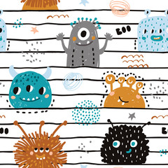 Seamless pattern with cute monsters. Creative childish texture for fabric, wrapping, textile, wallpaper, apparel. Vector illustration