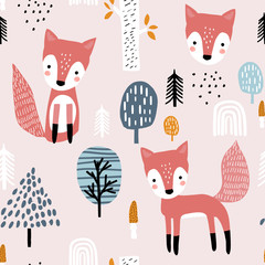 Seamless worest pattern with fox, mushrooms. Creative forest texture for fabric, wrapping, textile, wallpaper, apparel. Vector illustration