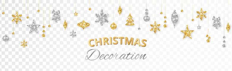 Wall Mural - Vector Christmas decoration. Gold and silver ornaments on white background.