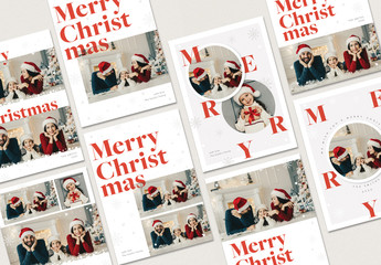 Christmas Photo Card Layout with Snowflake Accents