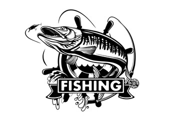 Pike fishing emblem shirt. Pike fish logo vector. Outdoor fishing background theme. Angry fish logo.