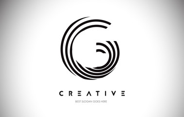 G Lines Warp Logo Design. Letter Icon Made with Circular Lines. Wall mural