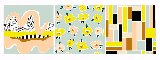 Wall Mural - Hand drawn various shapes, flowers, lines, squares and doodle objects. Set of three abstract contemporary modern trendy vector seamless patterns. Perfect for textile prints. Every pattern is isolated