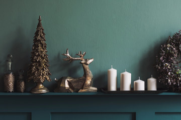 Christmas composition on the shelf in the living room interior. Beautiful decoration. Christmas...