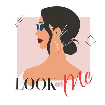 Fashion woman profile portrait  with trendy hairstyle, hairclips and earrings. Stylish accessories and glasses. Look at me text. Vector illustration for print, t-shirt design, poster, banner, tote bag