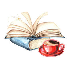Books and cup of coffee. Watercolor hand drawn illustration, isolated on white background