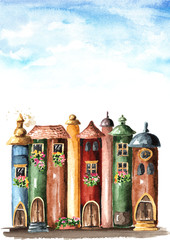 Books with fairy tales and fairy world. Watercolor hand drawn illustration isolated on white background