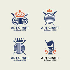 Handmade Craft and knitting vector logo design