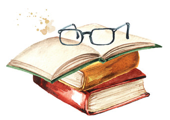 Old books and glasses. Watercolor hand drawn illustration isolated on white background