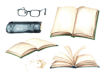 Open books and reading glasses collection. Watercolor hand drawn illustration isolated on white background
