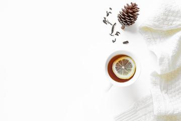 Winter composition with lemon tea