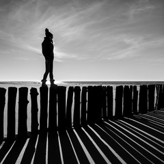 Girl on the north sea beach
