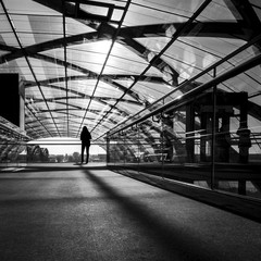 Girl in modern train station