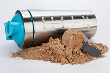 Shaker and scoop with protein powder