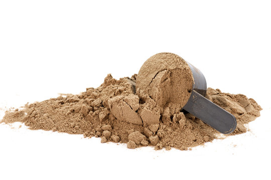 Scoop with a chocolate protein powder