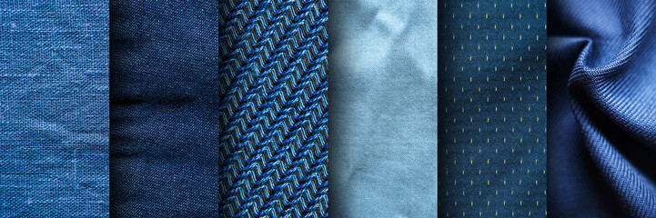 Photo sur Aluminium Tissu Collage of blue fabric textures. Blue Fabric Set