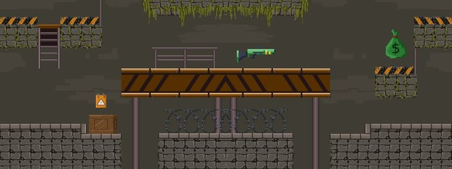 Pixel art military shooting objects for game vector illustration. Template of underground tunnel with stairs and obstacles flat style design. Computer games concept