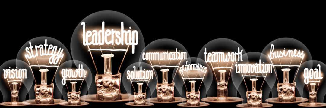 Light Bulbs with Leadership Concept