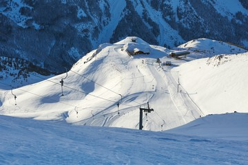 Wall Mural - Ski resort snowy alpine landscape