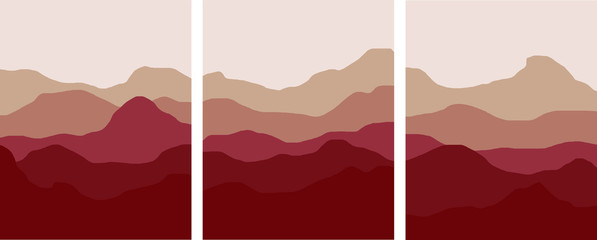 Fototapeten Braun red mountains and hills minimal landscape illustration set red clay colorful foggy environments vector simple art